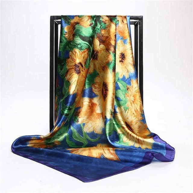 Fashion Sunflower Oil Painting Satin Head Square Scarf Women Imitated Silk Scarves Luxury Brand Large Size Shawl Wraps Hijab   – Products