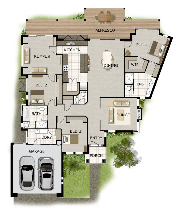 Water Front Design 3 Bed Room House Plan