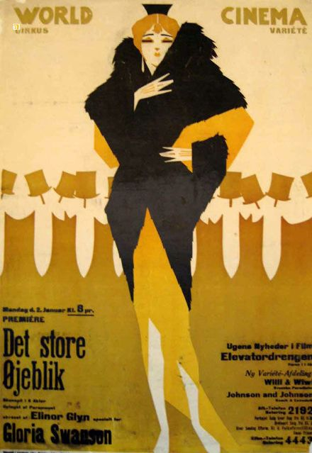 Movie poster by Sven Brasch (1886-1970), 1921, Det Store  Øjeblik (The Great Moment) with Gloria Swanson. (Swedish)