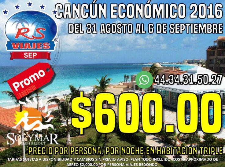 Nos vamos a Cancún!!!!!!! Viaja con nosotros al hotel Solymar con esta super promoción. CANCUN ECONOMICO 2016 te esta esperando.