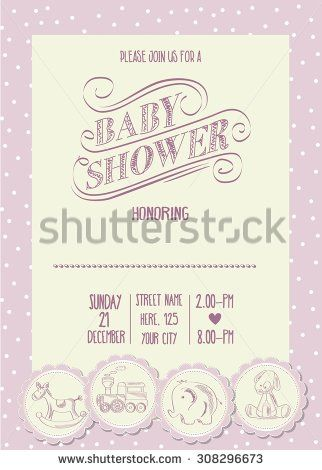 baby girl shower card with retro toys, vector illustration - stock vector