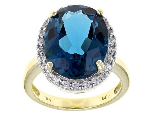 1008ct oval london blue topaz with 46ctw round white zircon 10k yellow gold ring