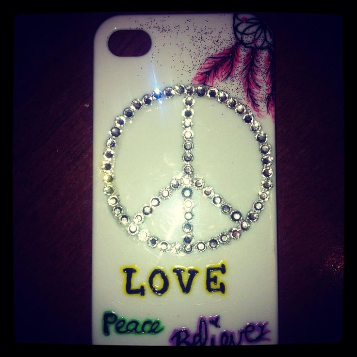 Sparkly peace sign phone case