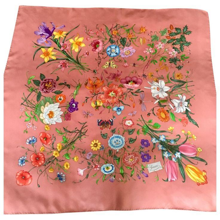 multicolour Floral Silk GUCCI Silk handkerchief - Vestiaire Collective