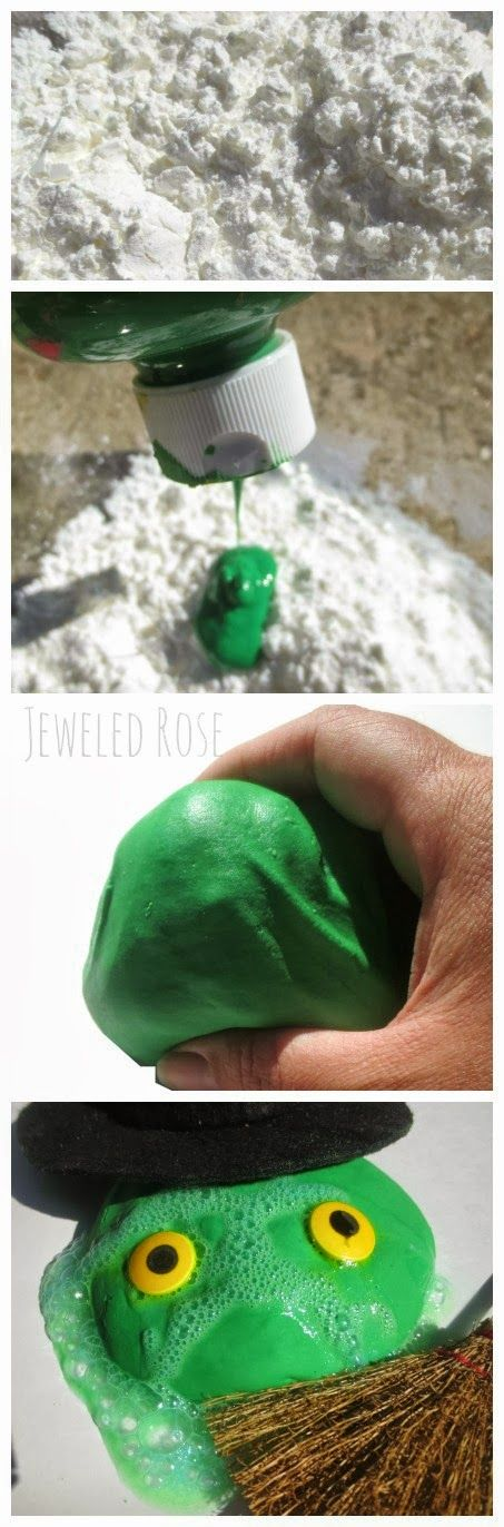 MAGICAL Melting Dough- This dough is mold-able but melts once kids hands are still.  It also BUBBLES & fizzes. Kids can mold witches & then watch them melt, they can make the witches FIZZ, make wicked witch eruptions, and more!   So many FUN ways for kids to PLAY!