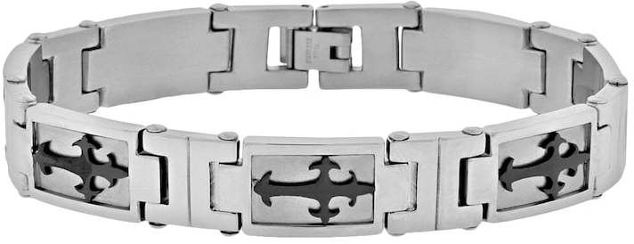 Kohl's Lynx Stainless Steel Two Tone Sideways Cross Bracelet - Men