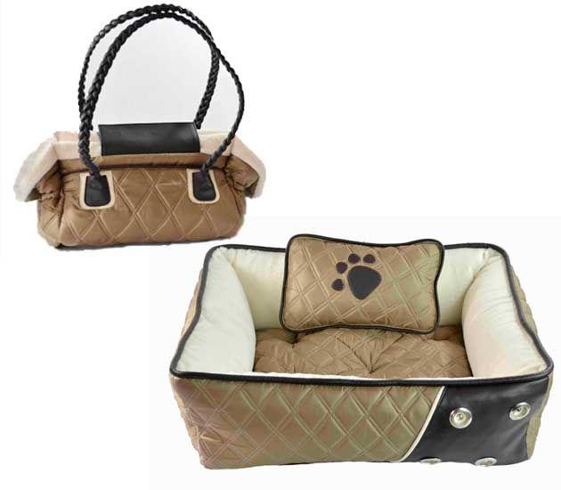 Cama y Bolsa transportadora modelo Italy capitonada. Accesorios para mascotas