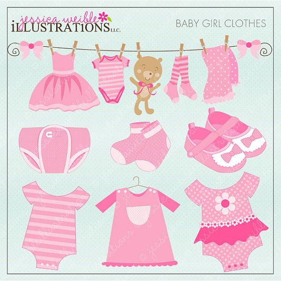 Baby Girl Clothes Cute Digital Clipart for Card Design, Scrapbooking, and Web Design