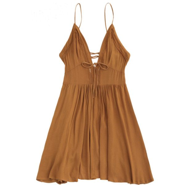 Plunge Low Back Lace Up Sundress Light Brown S ($15) ❤ liked on Polyvore featuring dresses, brown dresses, low dress, sun dresses, brown summer dresses and sundress dresses