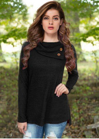 Casual Buttoned Cowl Neck Solid Color Long Sleeve T-Shirt For Women - black button down shirt mens, mens fitted black shirt, gents shirts with price *sponsored https://www.pinterest.com/shirts_shirt/ https://www.pinterest.com/explore/shirts/ https://www.pinterest.com/shirts_shirt/shirts/ http://www.ebay.com/sch/Mens-T-Shirts/15687/bn_704987/i.html