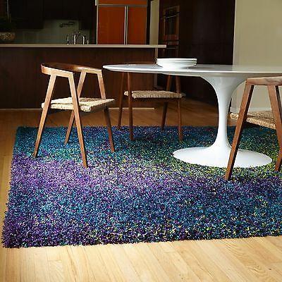 shag area rug peacock blue teal green purple multi color deep pile carpet dorm