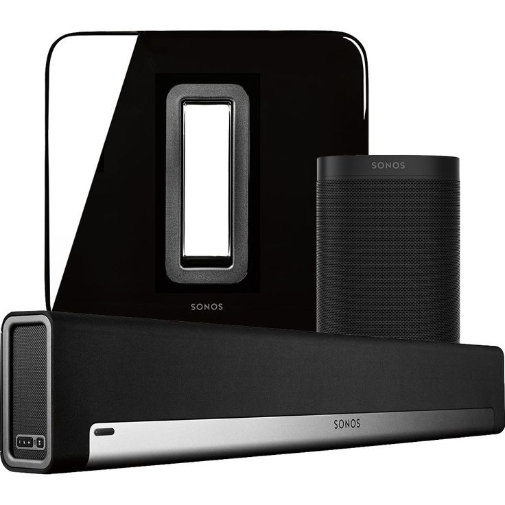 Sonos - 5.1-Channel Wireless Home Theater System with Sonos One Speaker Pair, Playbar and SUB - Black