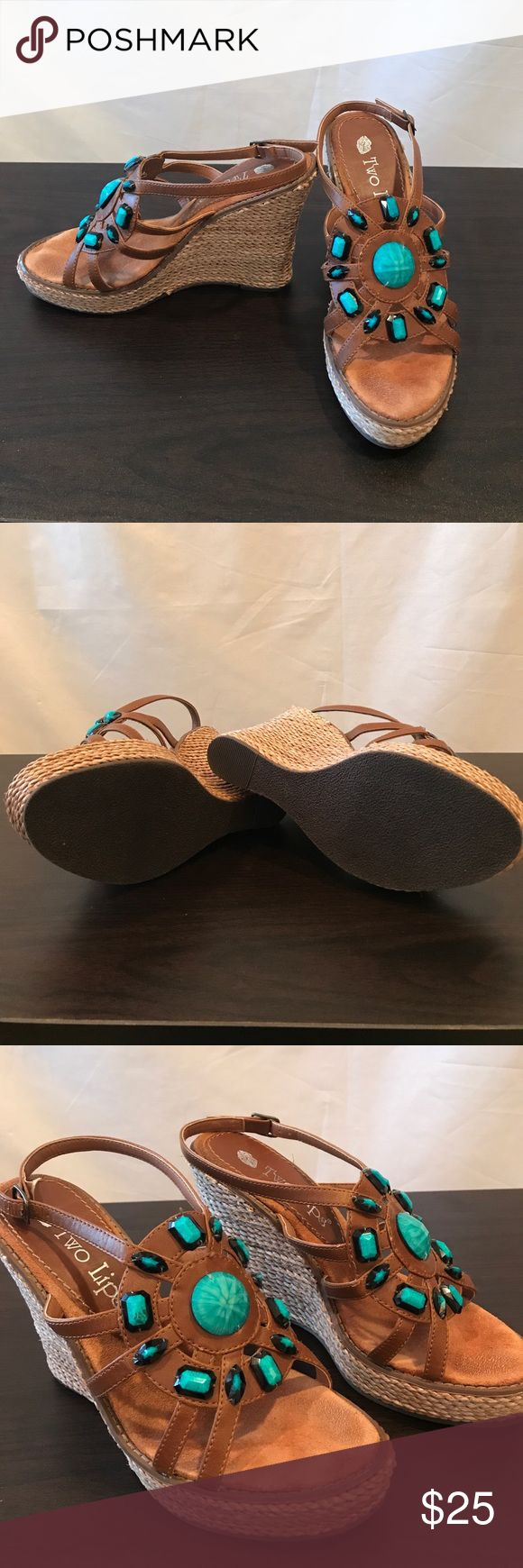 Two Lips Turquoise Wedge Sandals Adorable wedge espadrilles with cognac color suede and turquoise bead detail. Your new go-to summer vacay shoes! Two Lips Shoes Wedges
