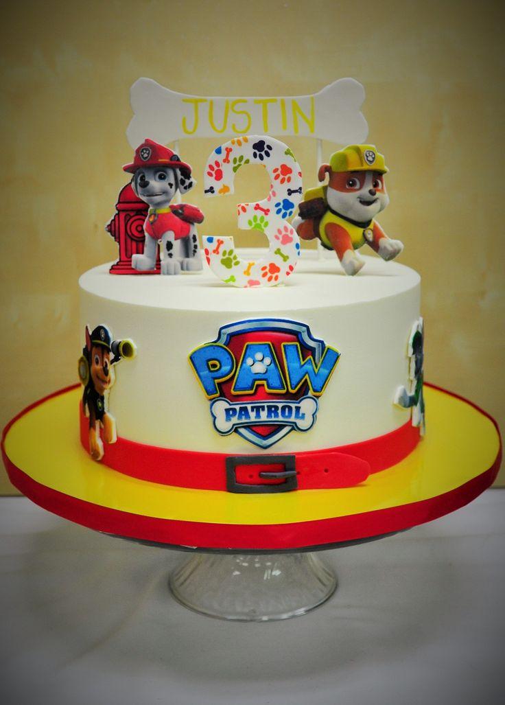 Silly Paw Patrol cake for 3rd birthday