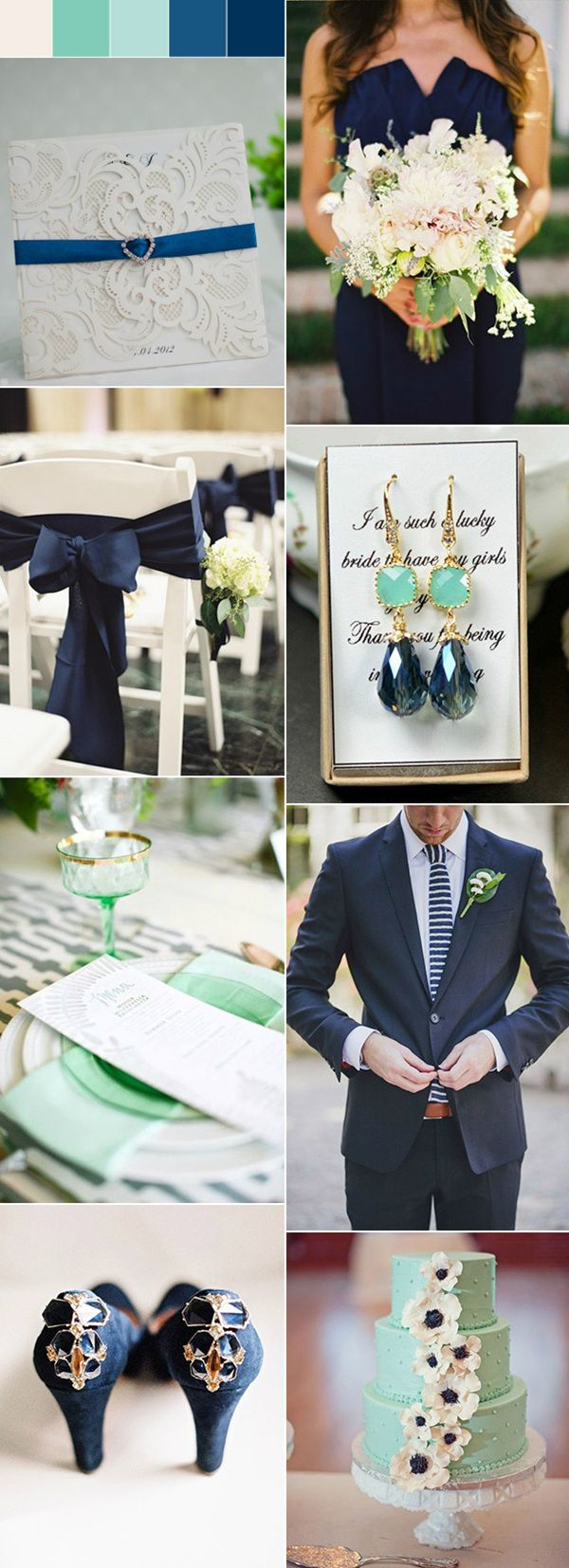chic fresh mint and navy wedding ideas for spring weddings / http://www.tulleandchantilly.com/blog/41-pretty-navy-blue-wedding-ideas-for-2016/