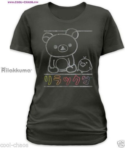 Official RILAKKUMA T-SHIRT! Rilakkuma & Kiiroitori Best Friends Juniors Tee! Choose from Juniors Available Sizes S-M-XL-L. Rilakkuma bear and Kiiroitori chick are best buds. Bears love chick. Cute Chalk Style Drawing. 00% Custom Comfort Cotton Poly Blend. Buttery Soft Ladies' Charcoal T-Shirt.Official Licensed San-X® apparel