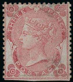 "Great Britain. 1862-64. 3d. rose ""Abnormal"" with dots, lettered OA, unused without gum, straight edge at foot, otherwise a sound example of this remar..."