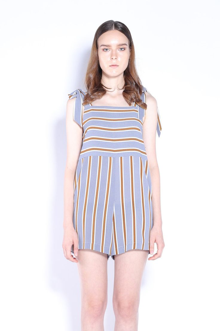 PILLOW TALK ROMPER | Stripes Romper With Bow Tie Shoulder