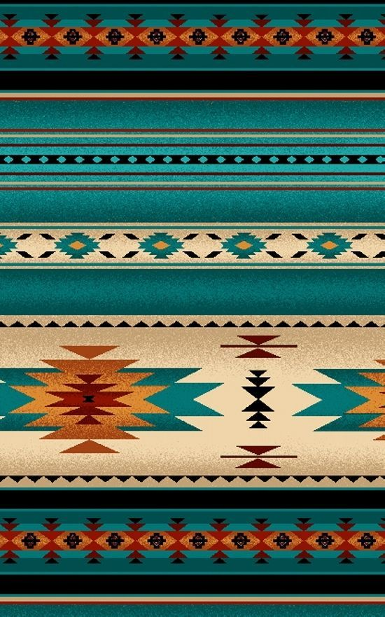 NATIVE AMERICAN INDIAN BLANKET PATTERN FABRIC TURQUOISE by the 1/2 yard #ElizabethsStudio