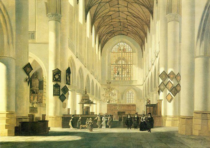 Job Berckheyde,Interieur van de Grote of St. Bavokerk te Haarlem, gezien naar het westen, 1668. (eigen collectie) #franshalsmuseum #berckheyde #bavo #haarlem #art #painting