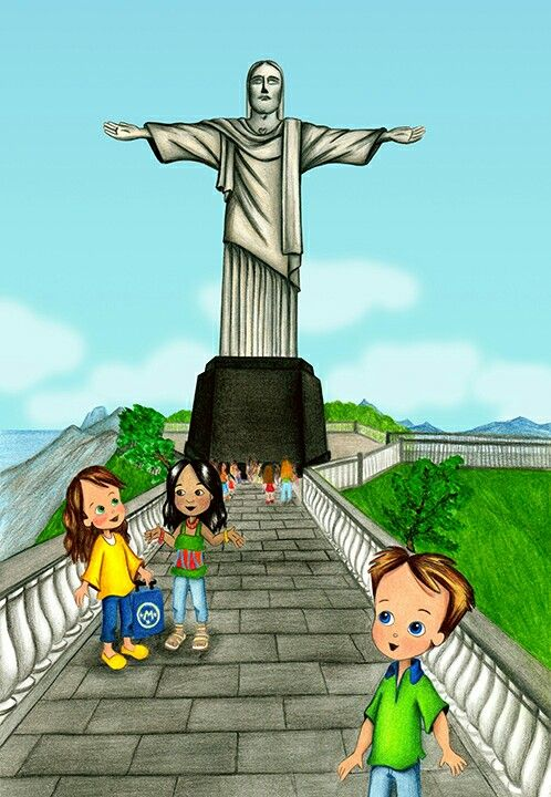 "Molly and Michael visit the Cristo Redentor (Christ the Redeemed) high atop the Corcovado in the upcoming ""Molly Goes to Rio de Janeiro."" This is the tenth book in the Molly and the Magic Suitcase cultural travel series for children. #familytravel #travel #Rio #education #socialstudies #learning #kids #books"