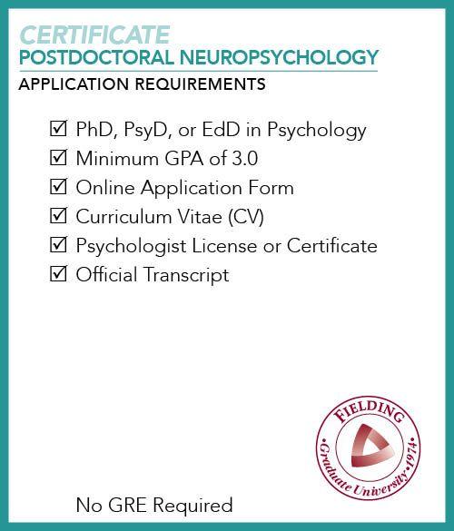 certificate psychology postdoctoral neuropsychology application checklist requirements fielding edu psychologist programs