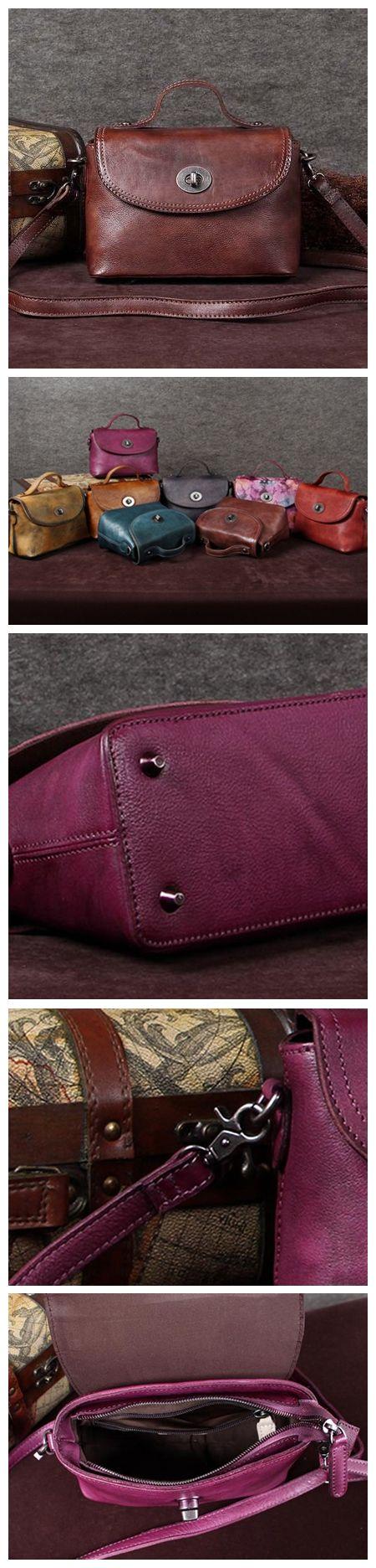 Handmade Leather Messenger Bag, Cross-body Shoulder Bag, Women Satchel Bag A0002 $129.00 USD
