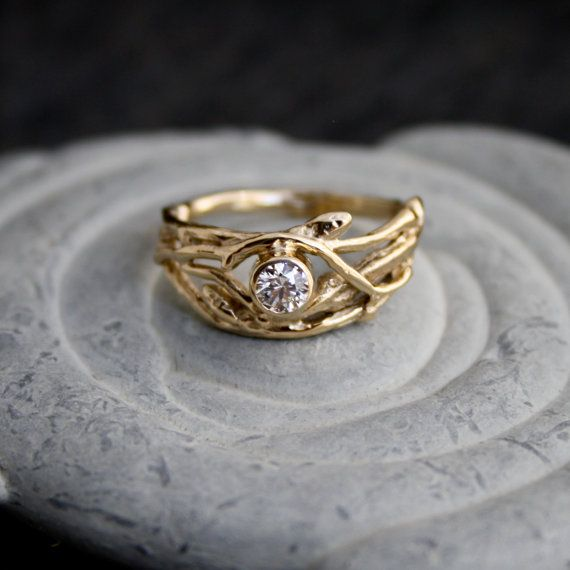 Ethical Canadian Diamond 14kt Yellow Gold Engagement Branch Twig Tree Organic Ring