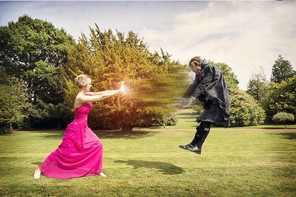 super hero action wedding Photography