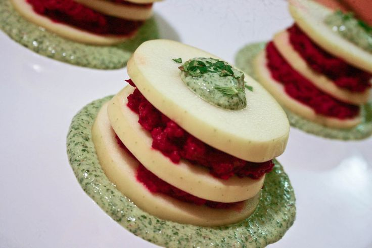Apples With Beet Hummus and Mint Yogurt Sauce