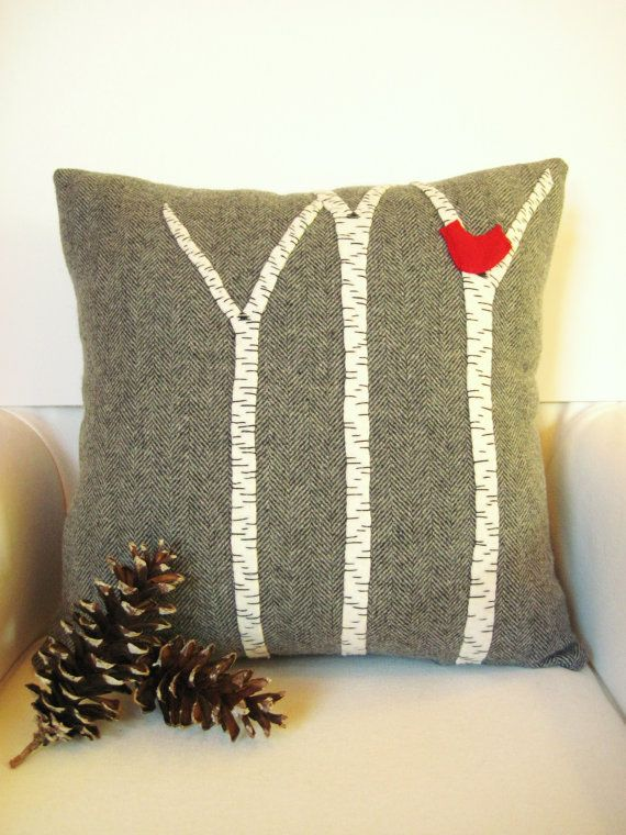 Decorative Throw Pillow / Birch Tree Pillow / Wool Pillow / Rustic Cabin Pillow / Gray Pillow  / Yellow, Red, Blue Bird / 16 Inch Square #awayupnorth #maineteam