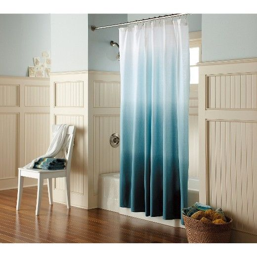 • Durable cotton<br>• Buttonhole top<br>• Machine washable<br>• 120 thread count<br><br>The Blue Ombré Shower Curtain from Threshold brings the beauty and calm of the coast to your bathroom decor. Easy to hang, it has a fresh, modern feel that transforms a space instantly.