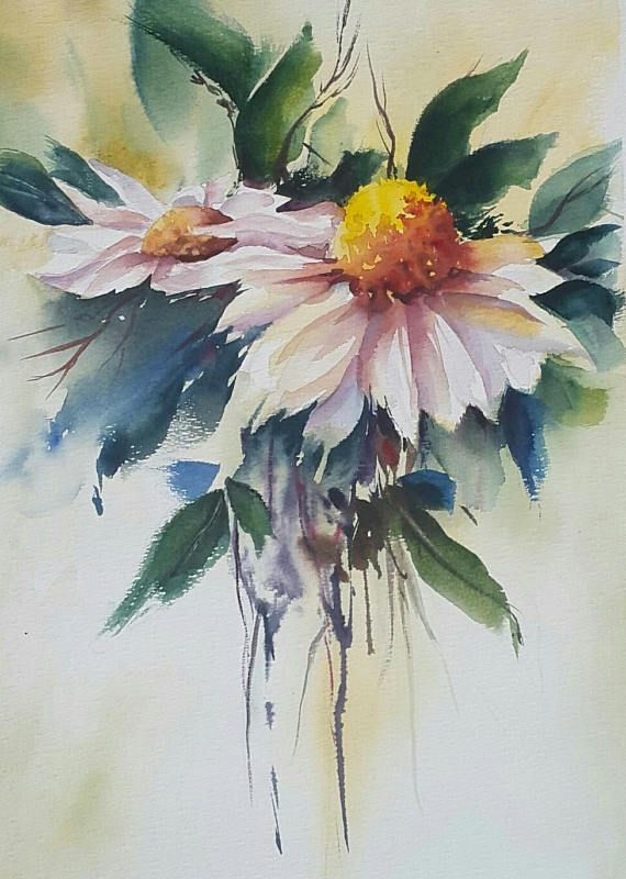 Beautiful Original Watercolor Painting Of Unique Flowers With