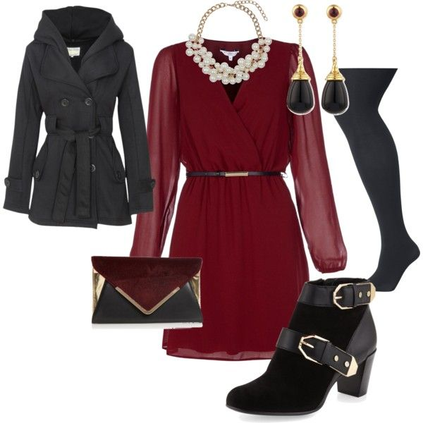 """winter wedding guest"" by ashdia on Polyvore - I love the rich red of the dress with the defined waist and soft silhouette - SM"