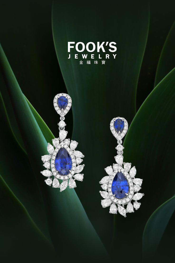 Fook's Jewelry Ltd. #Booth No.1C620 stunning vivid blue sapphire earrings…
