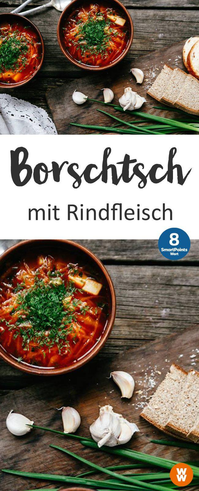 Borschtsch mit Rindfleisch | 4 Portionen, 8 SmartPoints/Portion, Weight Watchers, fertig in 80 min.