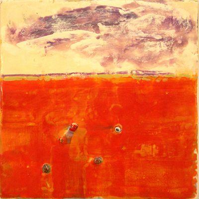 "Joan Stuart Ross    Bay Light IX    16 x 16""  Encaustic, mixed media/panel  $1,100.00"