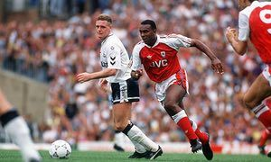 Arsenal's David Rocastle goes past Tottenham Hotspur's Paul Gascoigne during their September 1990 League Division One game at Highbury, which finished goalless.