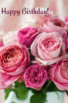 feliz cumpleaños Happy Birthday with a bouquet of roses