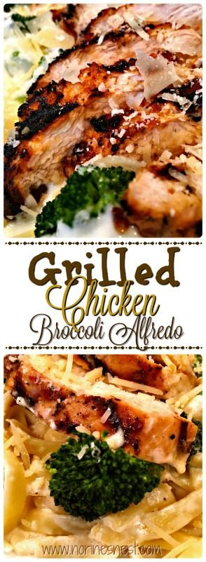 Grilled Chicken Broccoli Alfredo is an easy dinner and a family favorite!