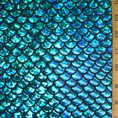 Turquoise on black large fish scale lycra fabric mermaid for Fish scale fabric