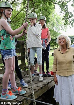 Camilla also watched youngsters from Brockenhurst Primary School using the outdoor climbing equipment