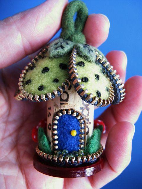 tiny cork & zipper house....
