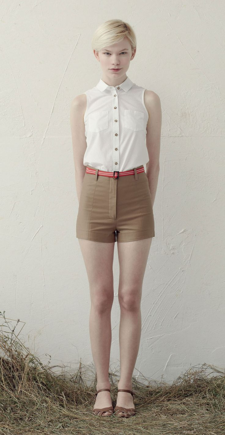 Beige High Waisted Shorts