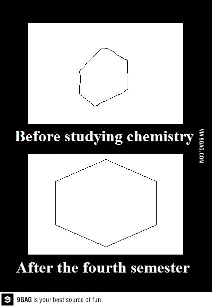 One benefit of studying chemistry, the truth in this is scary...i can draw a perfect hexagon
