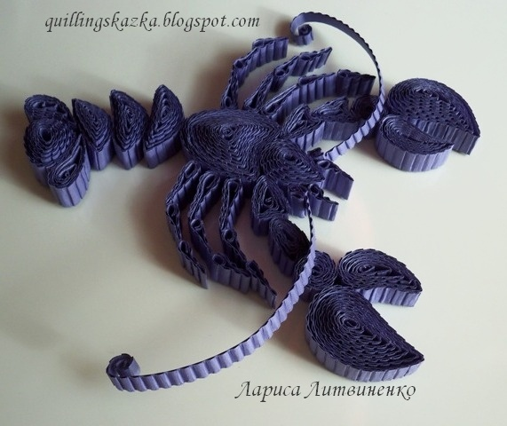 Purple lobster using crimped quilling strips fish sea for How to use quilling strips
