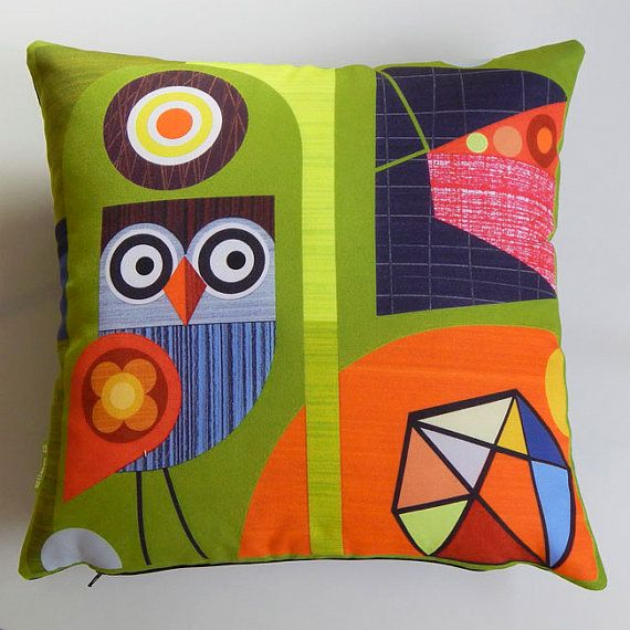 Retro owl, mid century modern, geometric, abstract,moss green, bright orange, digitally printed cushion cover