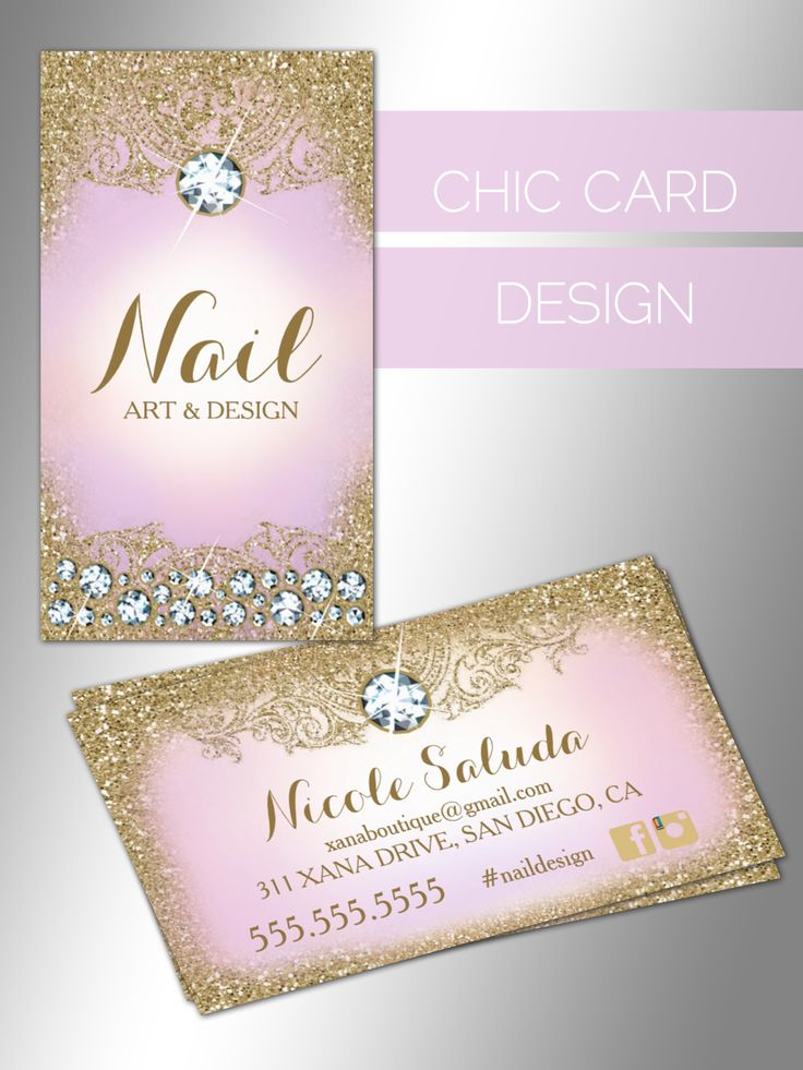 chic business card design, diamonds, lilac, gold, boutique, spa, salon, nails, stylish business cards, girly
