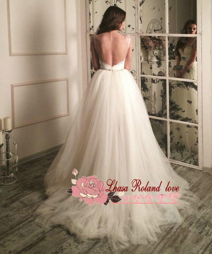 Сексуальная две пьесы пляж свадебное платье с открытой спиной рукавов кружева свадебные платья 2016 Vestido Novia съемная поезд свадебное платье купить на AliExpress