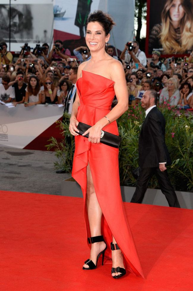 Loving Sandra Bullock's look. The dress + shoes = to die for.